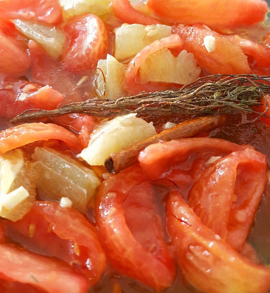 Tomates confites citron safran