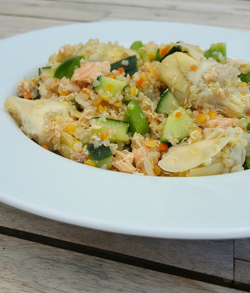 salade quinoa artichaut saumon