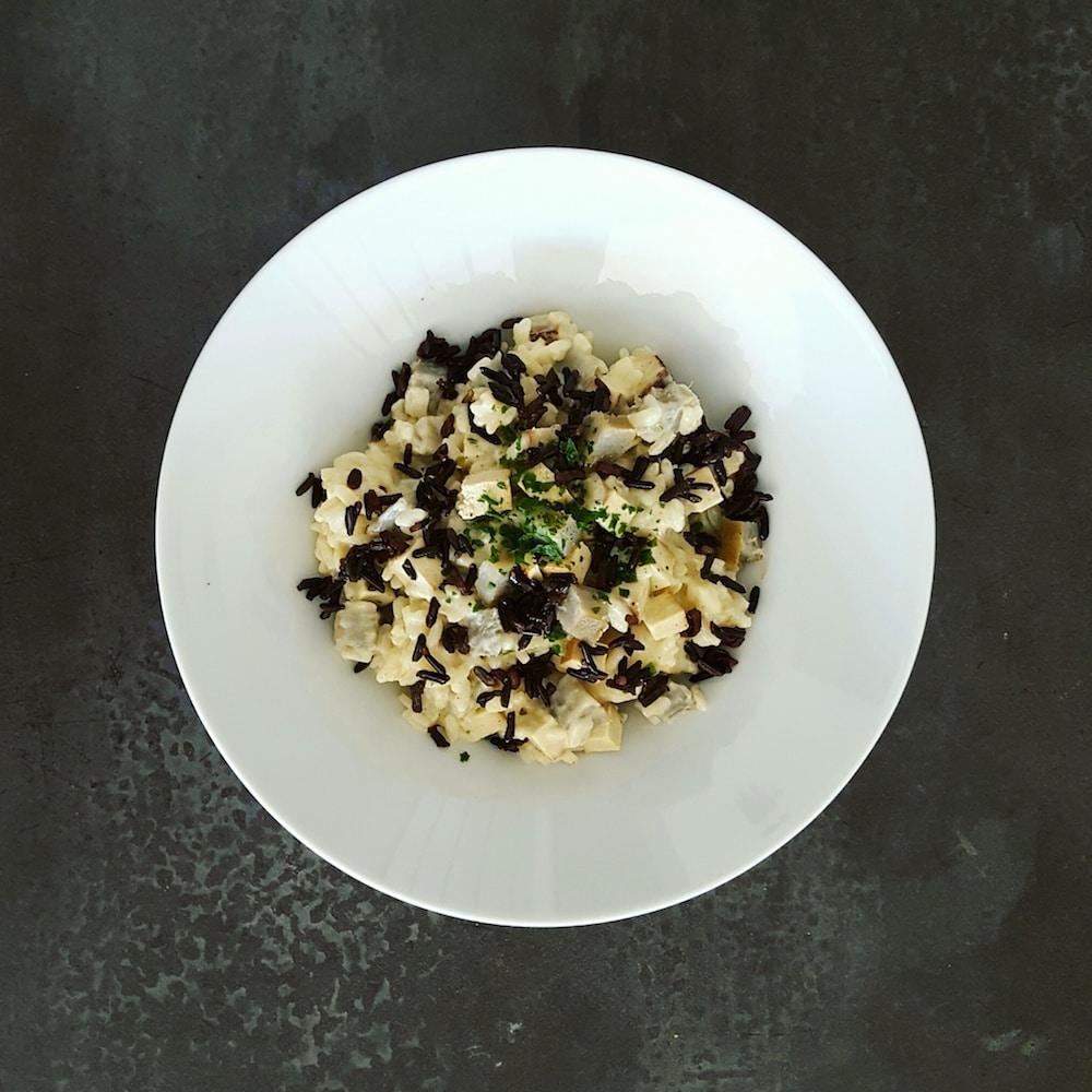 Risotto veggie gourmand à l'artichaut et tofu fumé