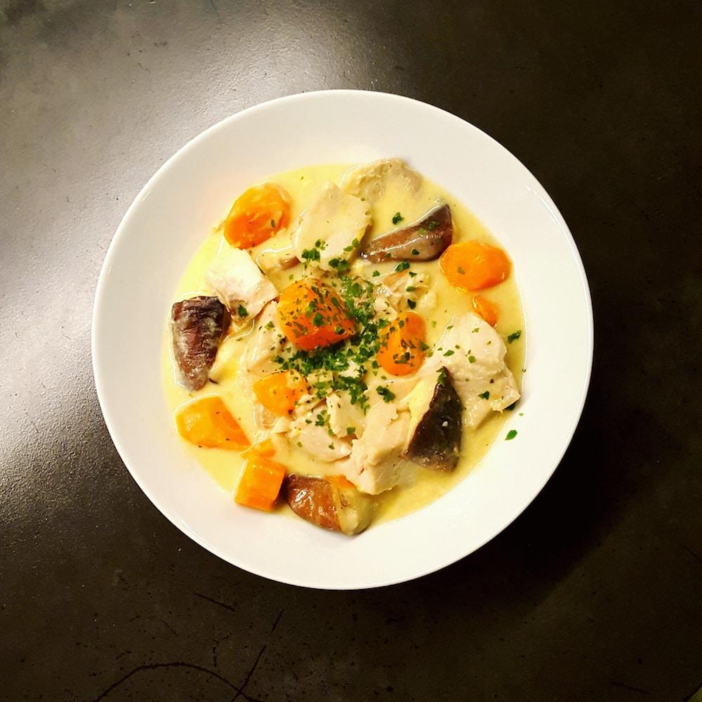 Blanquette de poisson aux champignons shiitake