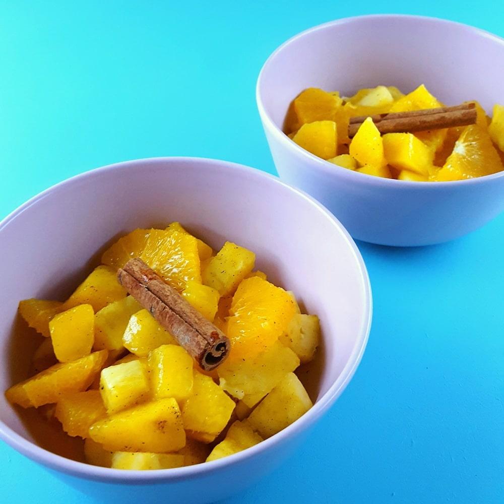 Salade de fruits exotiques à la cannelle - recette dessert léger - la cerise sur le maillot