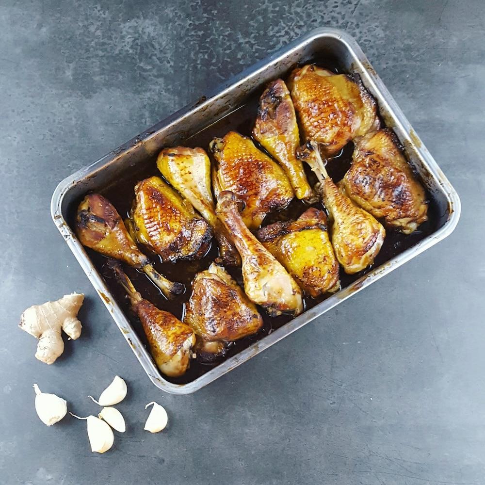 Cuisses de poulet marinées soja-gingembre