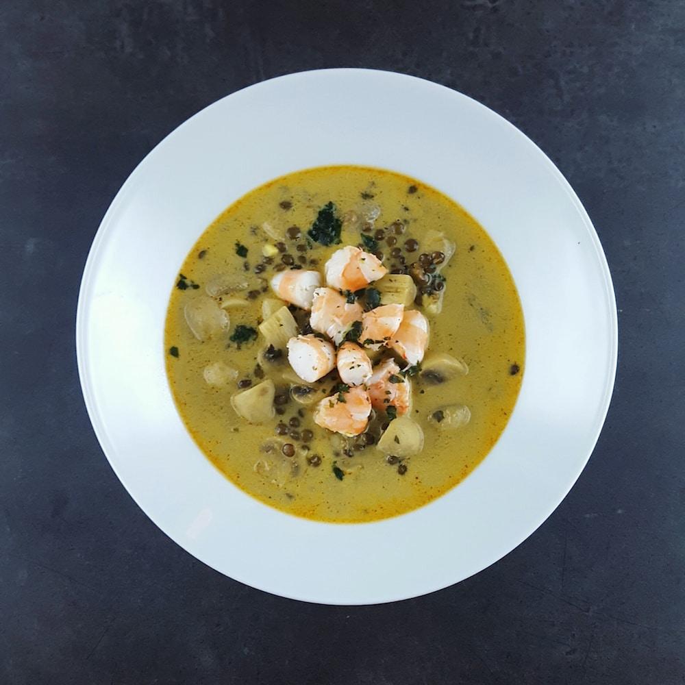 Soupe de crevettes, champignons et lentilles au curry trop trop bonne
