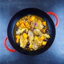 Tajine de poulet aux citrons confits et patates douces