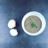 Crème de champignons et lentilles au lait d'épeautre