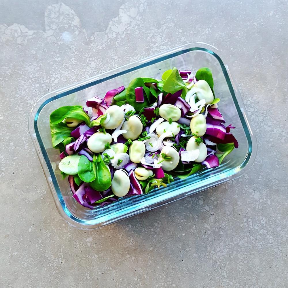 Salade demi-saison, fèves-chou rouge-mâche