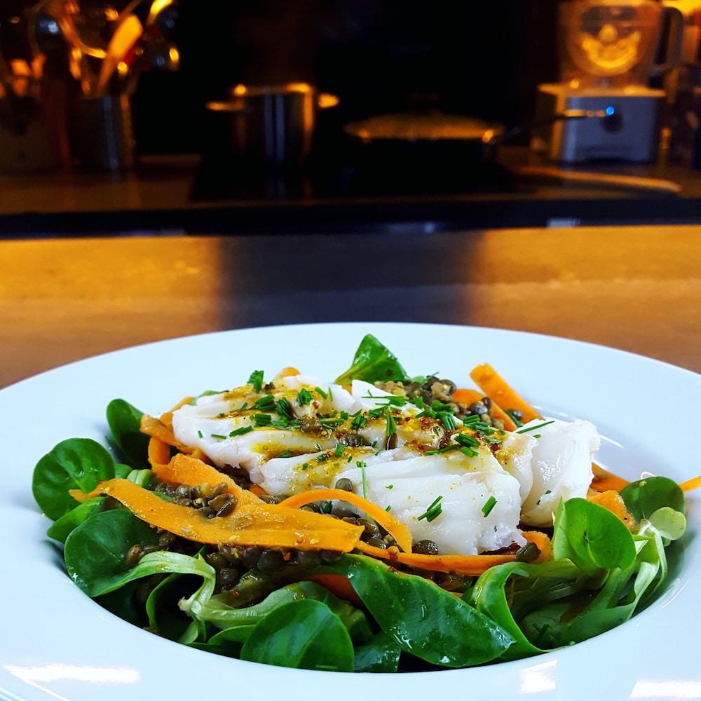 Salade de lentilles et cabillaud tiède sauce au curry