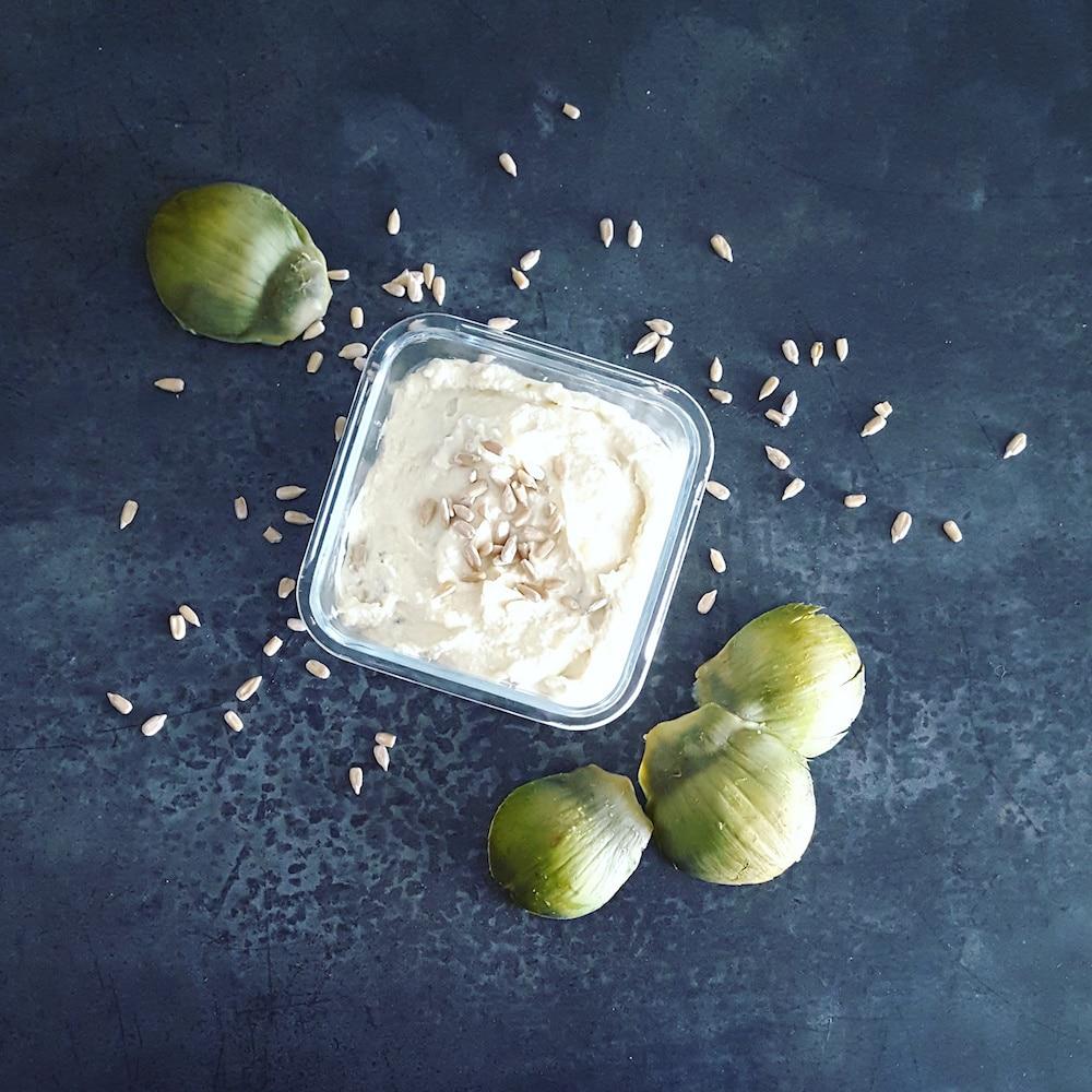 Houmous à l'artichaut et graines de tournesol