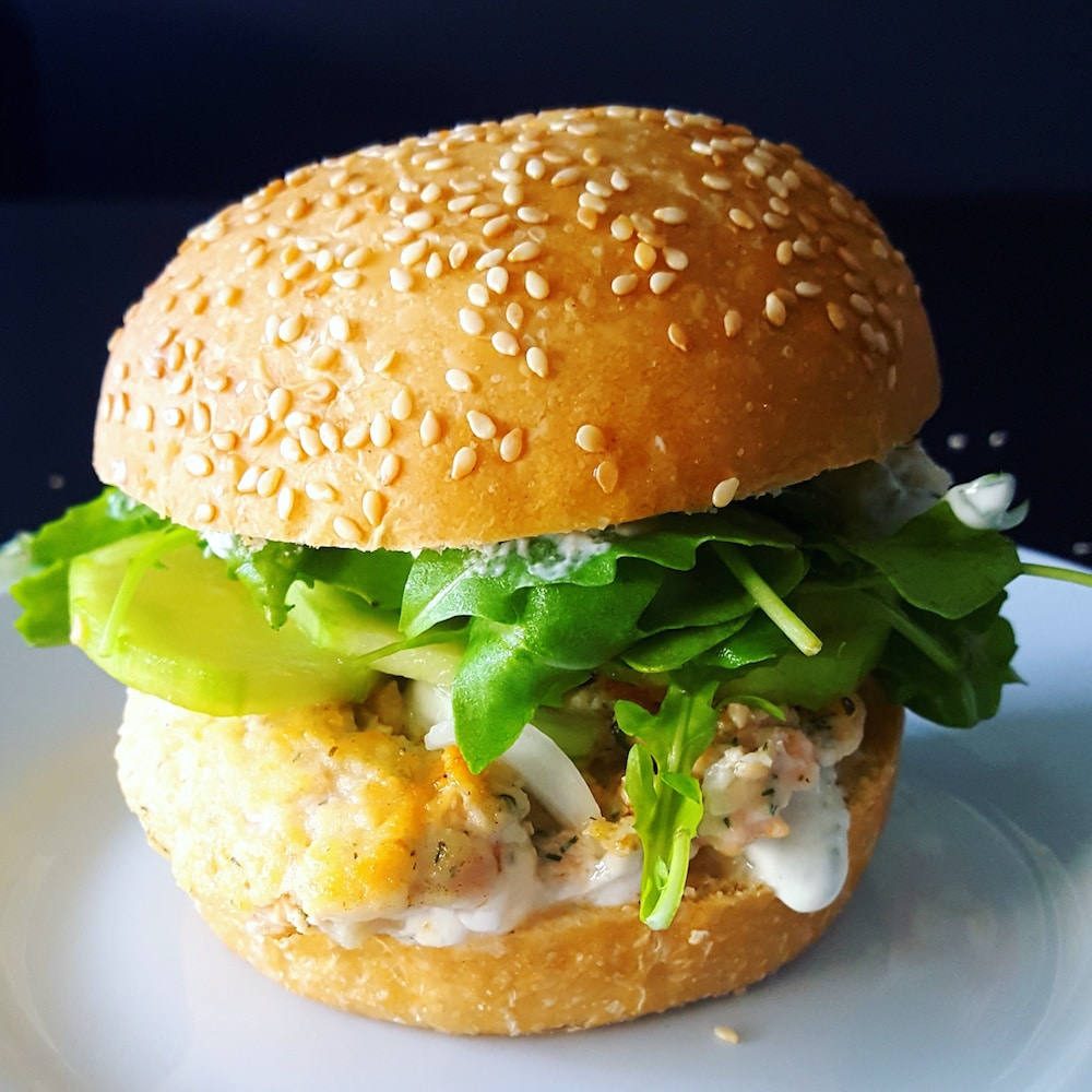 Fresh burger au saumon mi-cuit