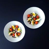 Salade de lentilles, légumes croquants et vinaigrette miel-noix