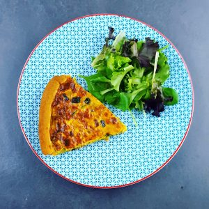 Quiche courgette-thon au curry
