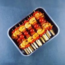Brochettes terre-mer à la crevette et au chorizo