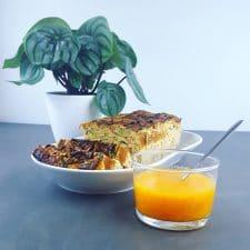 Terrine de courgettes – tomates séchées, coulis de tomates jaunes