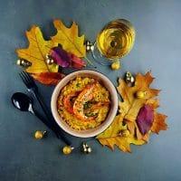 Risotto crémeux de butternut, échalotes confites et gambas au Pineau des Charentes