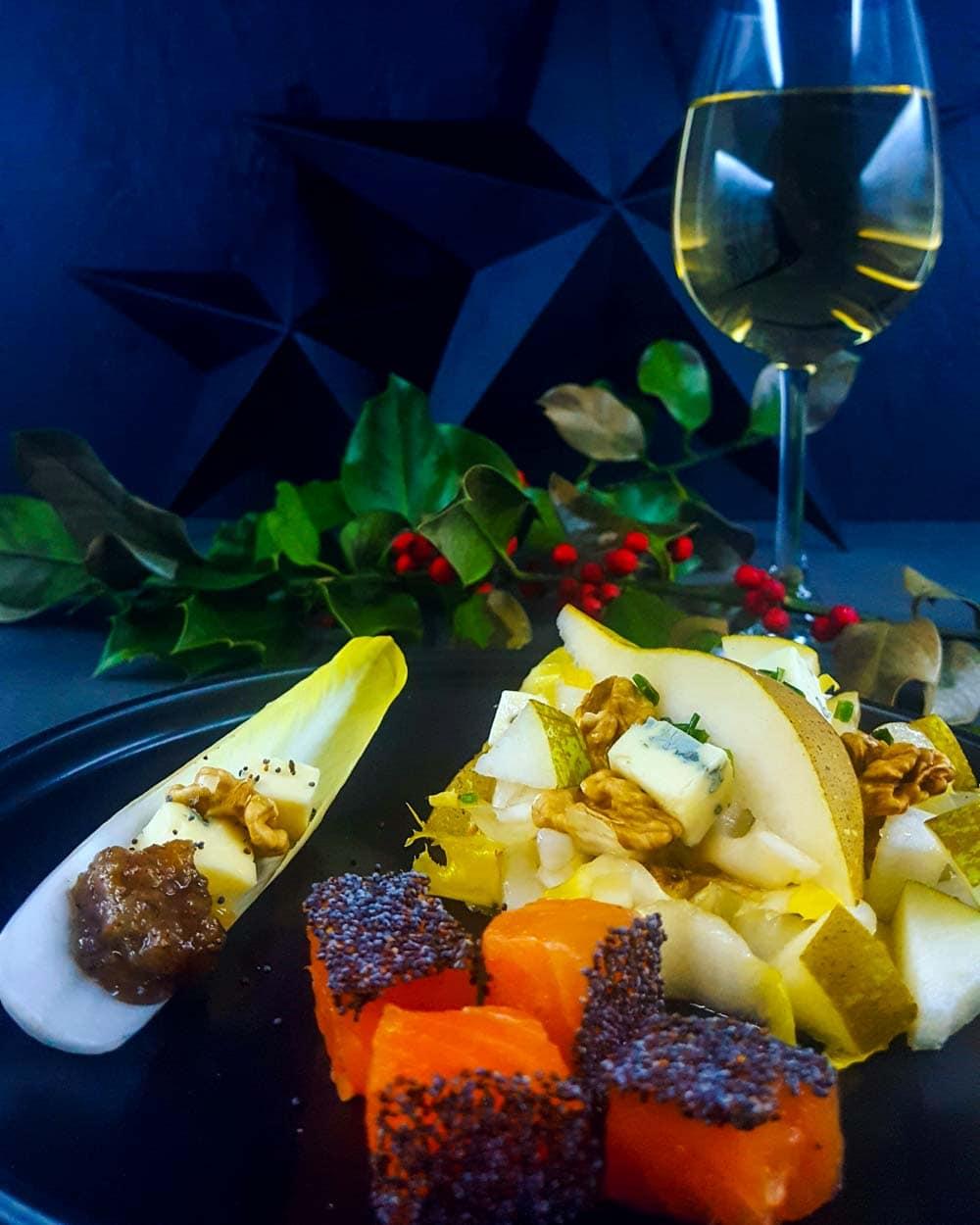 Gravlax de truite, salade hivernale et chutney de poire - la cerise sur le maillot