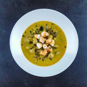 Soupe de crevettes, champignons et lentilles au curry - soupe repas - la cerise sur le maillot