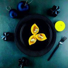 Conchiglioni, mousseline de potimarron, Saint-Jacques au beurre de truffe