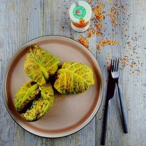 Chou farci végétarien au quinoa rouge - chou farci recette - la cerise sur le maillot