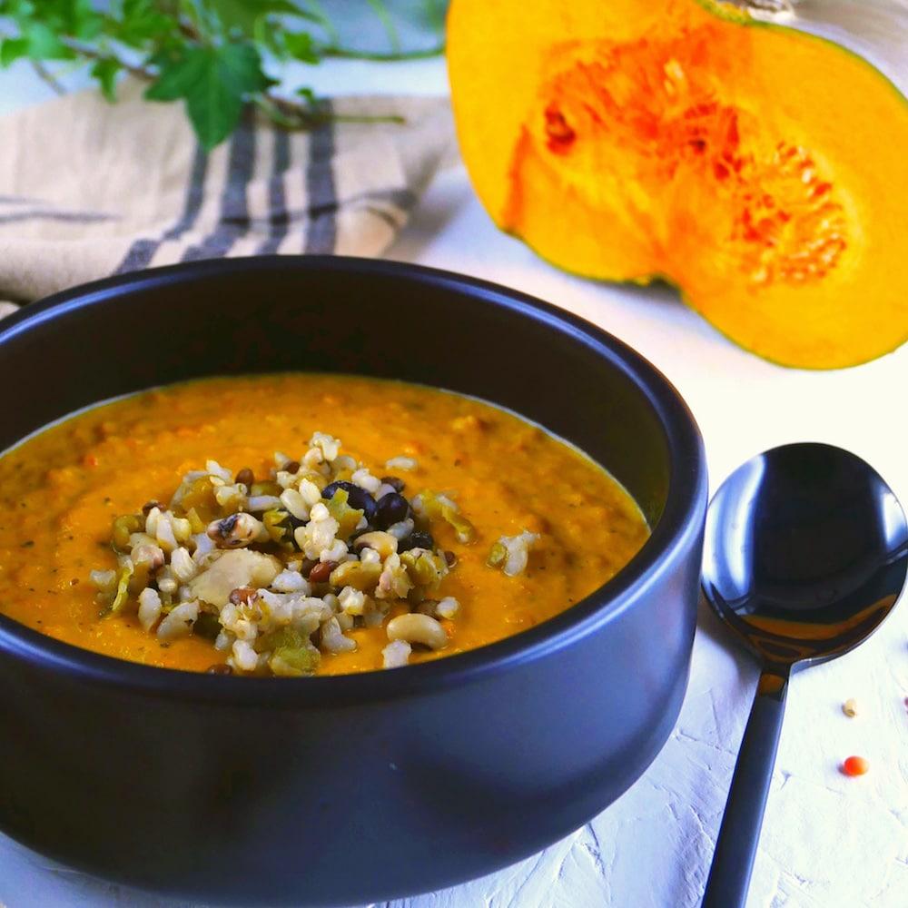 Crème de courge et légumes rôtis