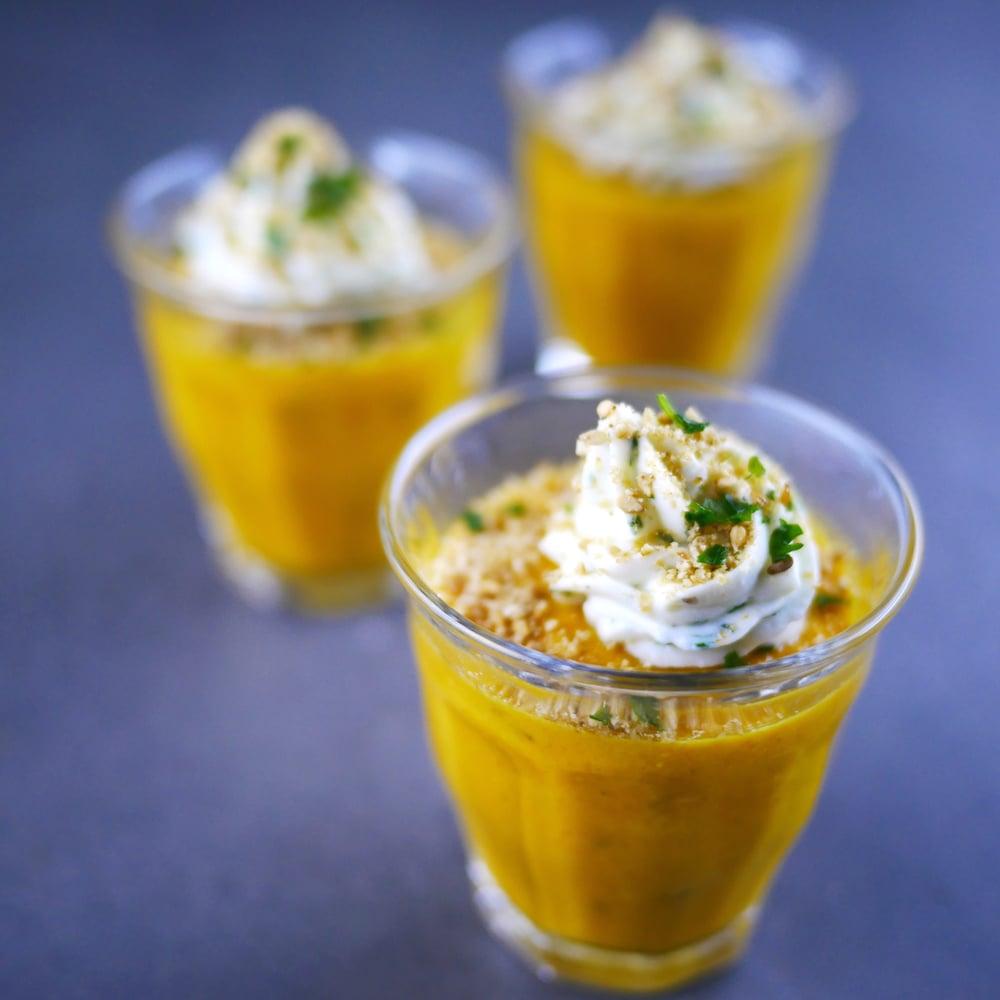 Bavarois de carotte au cumin, crème de brebis à la coriandre