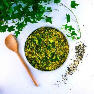 Riz, lentilles et épinards au curry-coco - plat végétarien - la cerise sur le maillot
