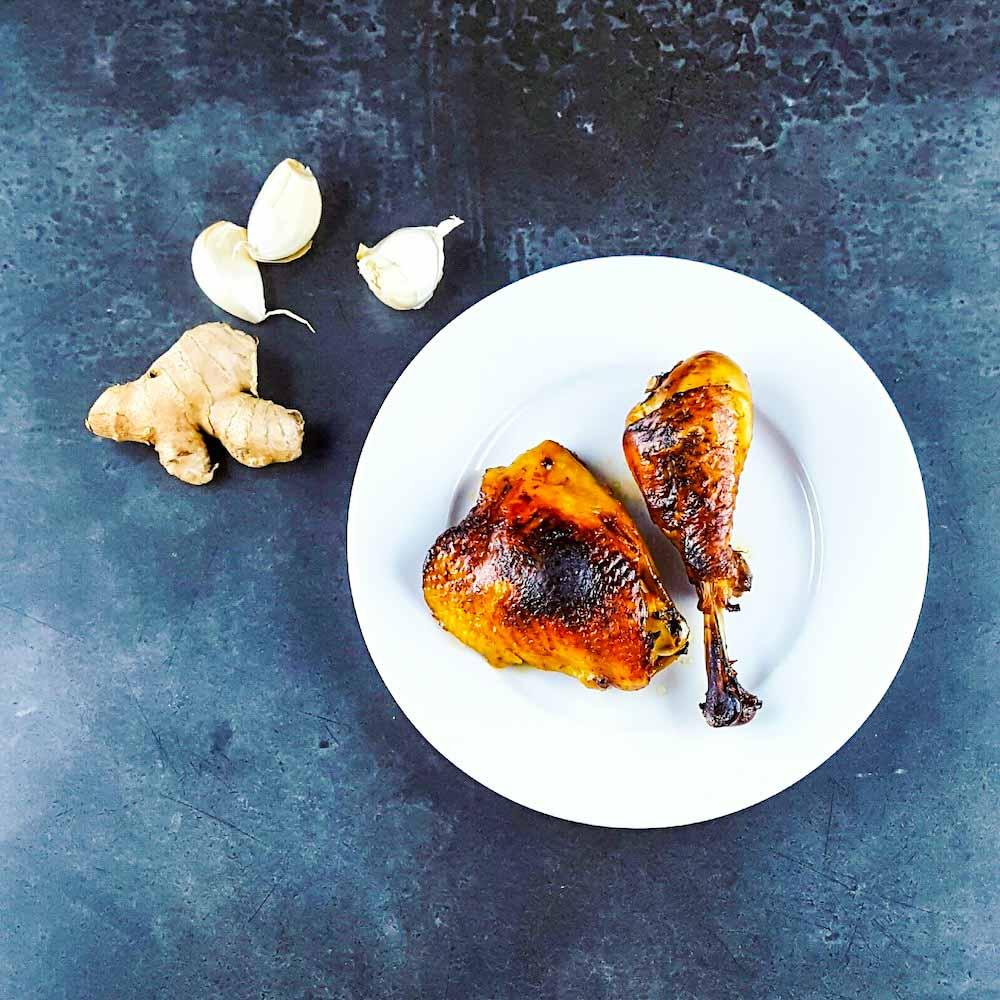 Cuisses de poulet marinées soja-gingembre - la cerise sur le maillot