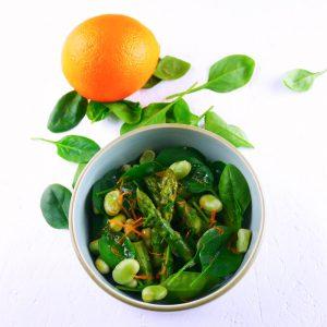 Salade « verte » printanière et vinaigrette au miel et aux agrumes - la cerise sur le maillot