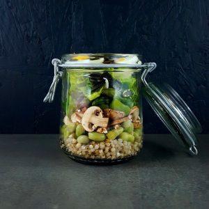 Bocasalade sarrasin, légumes de printemps et œuf
