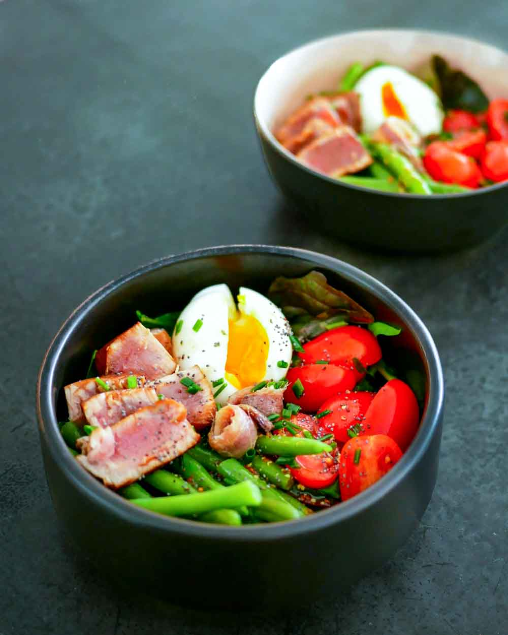Salade niçoise à ma façon (thon tataki)