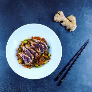 Wok de thon et légumes minute - la cerise sur le maillot
