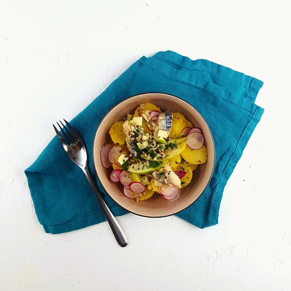 Salade de pommes de terre, maquereau, granny smith vinaigrette au miel