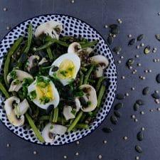 Salade complète aux lentilles et haricots verts