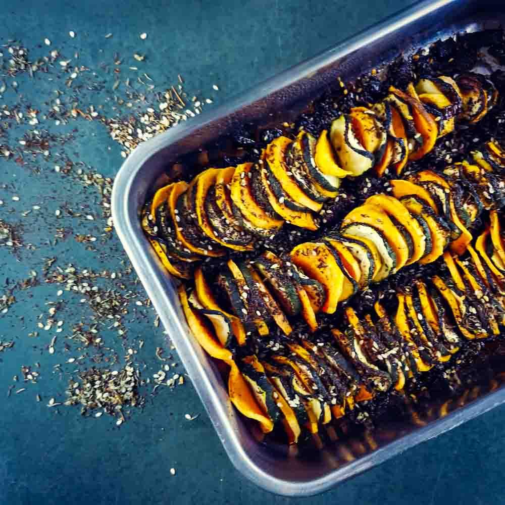 Tian de patate douce et courgette au zaatar - la cerise sur le maillot