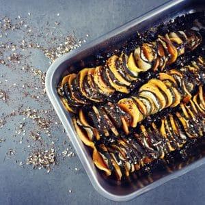 Tian de patate douce et courgette au zaatar