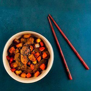 Wok de canard laqué aux légumes - la cerise sur le maillot