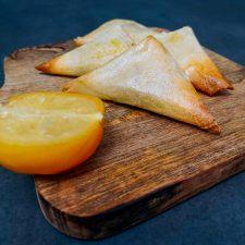 Samoussas aux crevettes et citrons confits