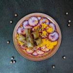 Nems de canard aux raisins, carpaccio de légumes croquants, sauce au sésame - la cerise sur le maillot