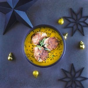 Boulettes de canard thaï, crème de patate douce au curry - plat de fête - la cerise sur le maillot