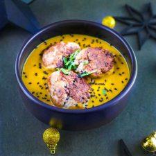 Boulettes de canard thaï, crème de patate douce au curry