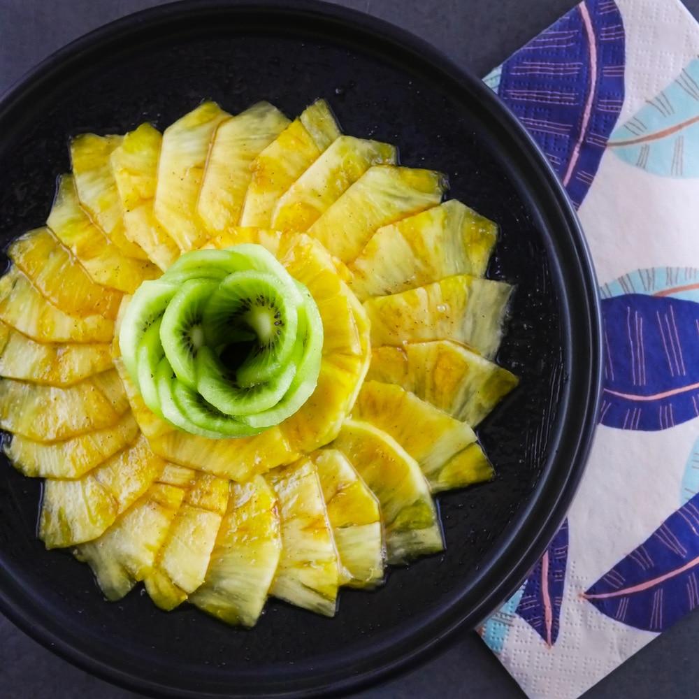 Carpaccio de fruits et sirop pomme-chaï (sans sucre ajouté) - dessert detox - la cerise sur le maillot