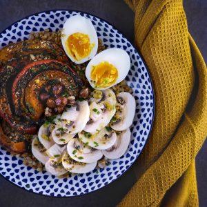Salade hivernale au petit épeautre et potimarron rôti - batch cooking - la cerise sur le maillot