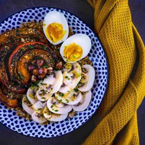 Salade hivernale au petit épeautre et potimarron rôti - la cerise sur le maillot