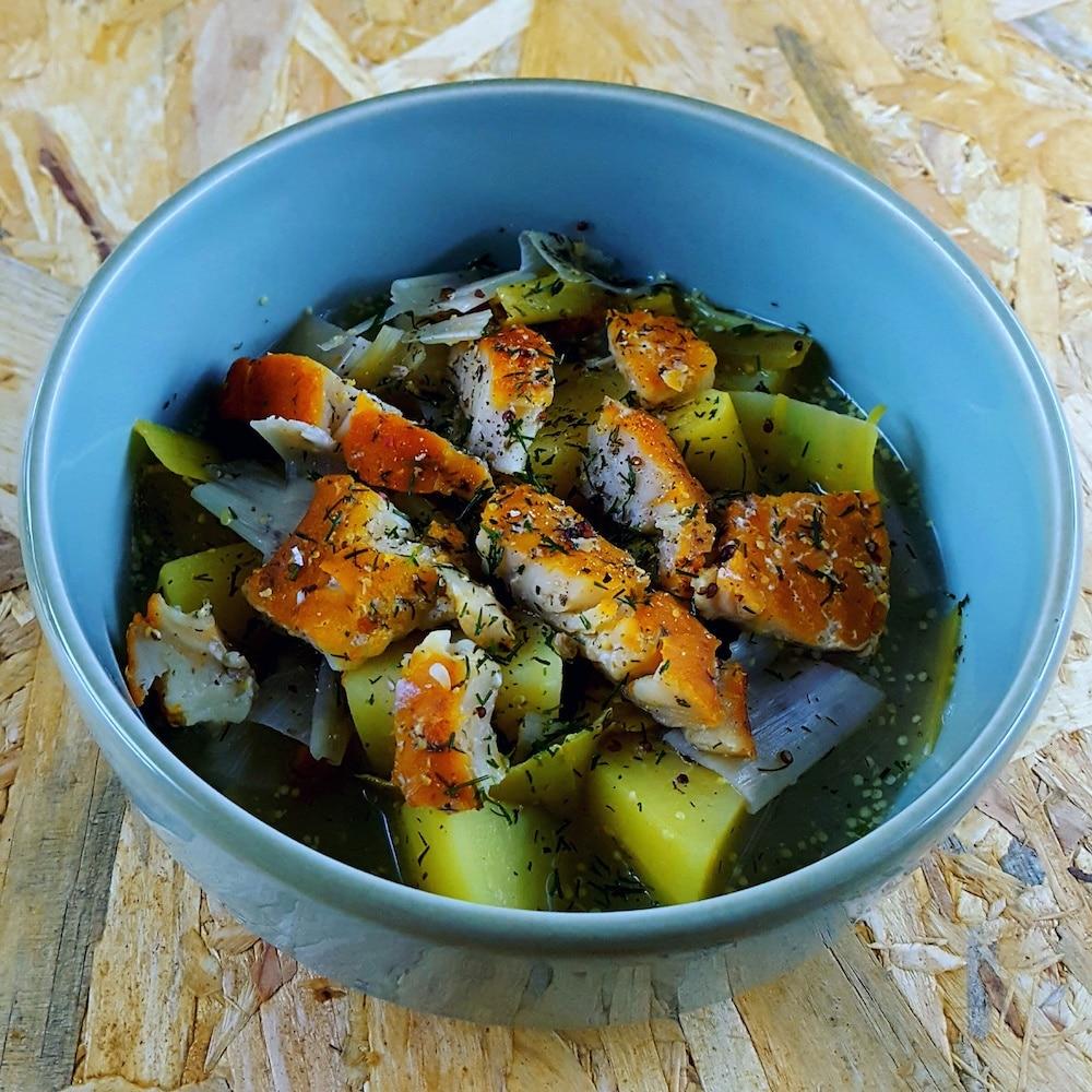 Soupe de poireaux-pommes de terre au haddock - recette soupe - la cerise sur le maillot