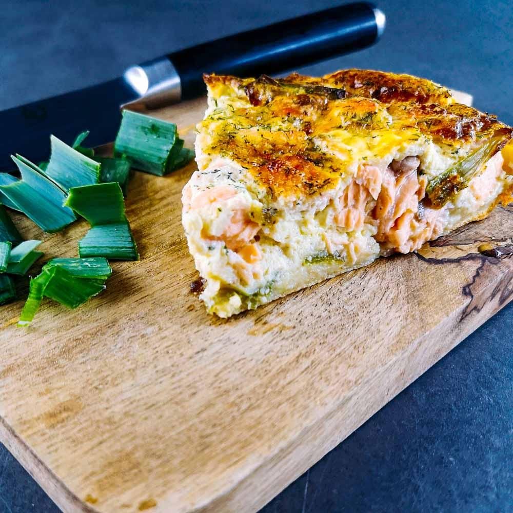 Clafoutis de saumon et poireaux - la cerise sur le maillot