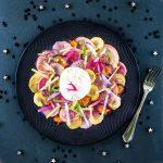 Légumes racines laqués-rôtis et burrata truffée - entrée de fête - la cerise sur le maillot