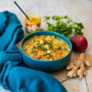 Soupe indienne au poulet mulligatawny - la cerise sur le maillot