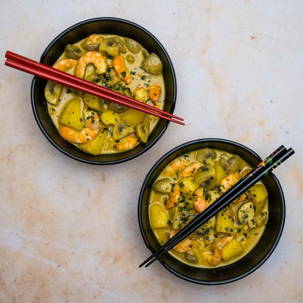 Curry massaman aux crevettes - la cerise sur le maillot