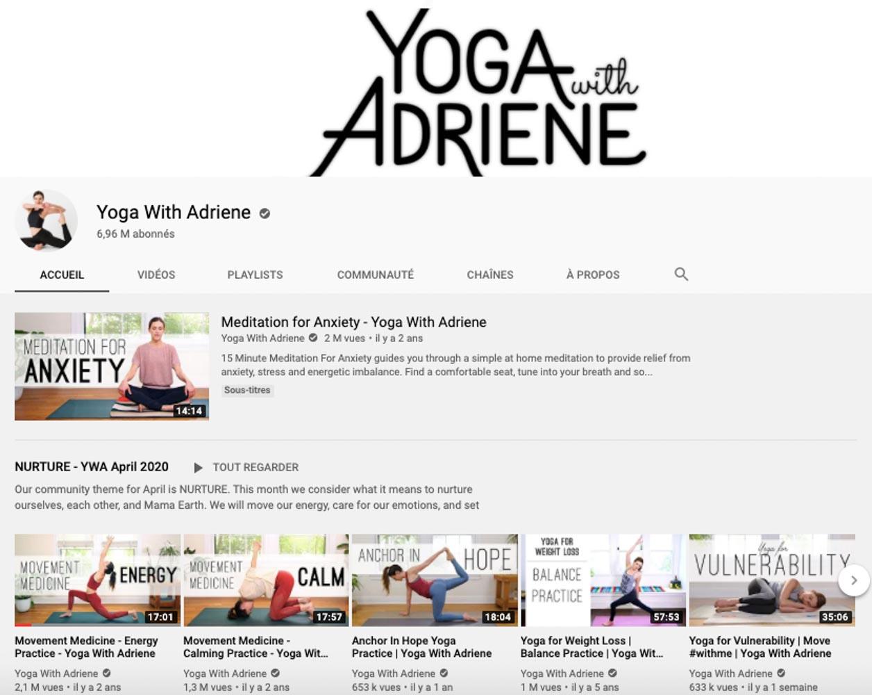 Yoga en ligne, ma sélection, mes préférés - Yoga with Adriene