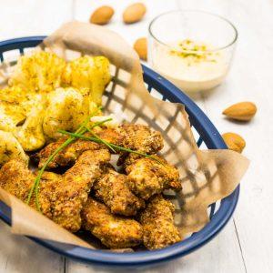 Nuggets légers (dinde-amande-thym) et sauce curry - la cerise sur le maillot