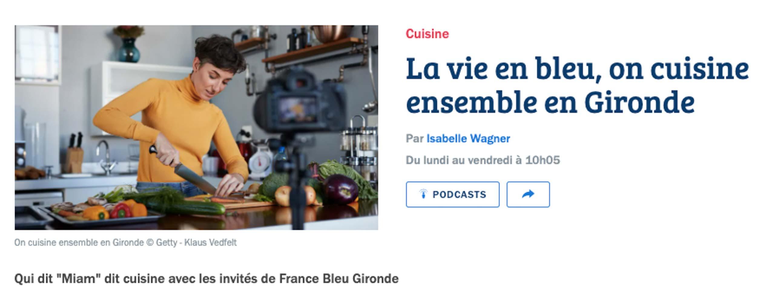 On cuisine ensemble, France bleu Gironde